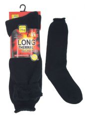 Mens long thermal black socks MN410749